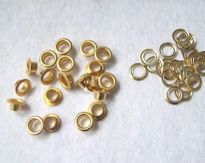 Gold eyelets Grommets Eyelets Gold 7mm eyelets rivets - pack of 20