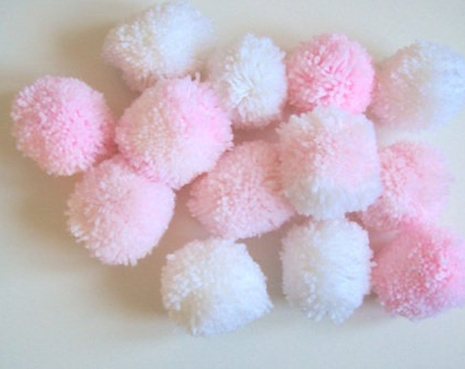 Pom poms baby pink and whites 6cm various quantities party decorations nursery decor baby shower