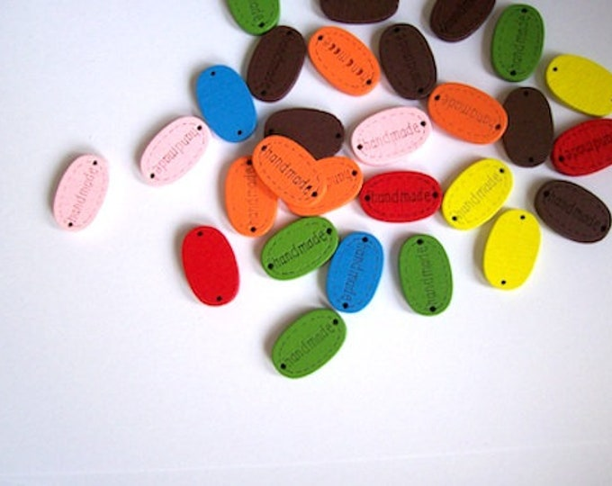 handmade sewing button Wood 19x12mm - pack of 20 mixed colours