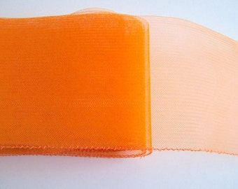 "Crin Fabric UK Crin orange 6"" Crin (crinoline horsehair braid) 6 inch (15cm) crinoline fabric  Sold per YARD (continuous)"