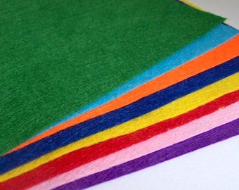 Felt sheets pack of 8 multi colour 21cm x 15cm