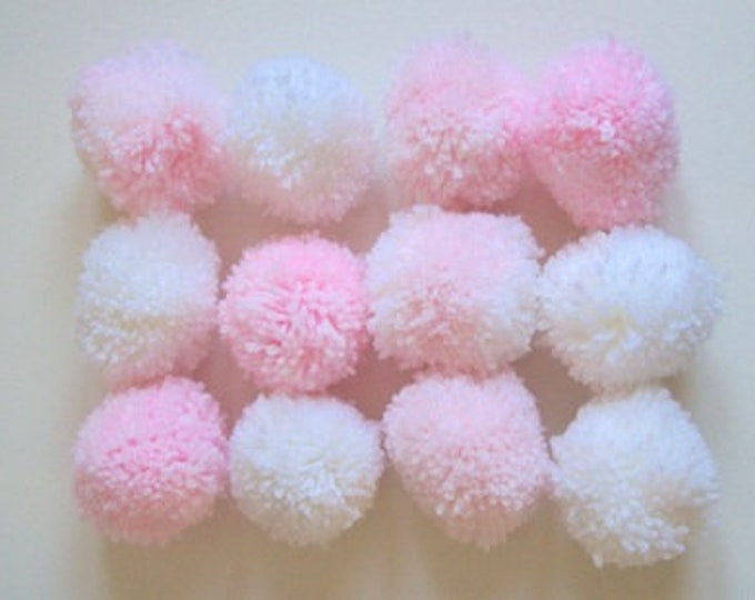 Pom poms baby pink and whites 6cm various quantities party decorations nursery decor baby shower 50 pom poms