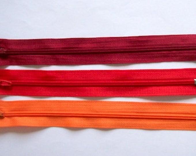 """Zips pack 3 red orange mix zippers 8"""" pack of 3  8"""" zip zipper 8 inch (20cm) red orange mix"""