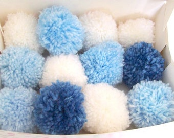 Pom poms blue and whites 6cm various quantities party decorations nursery decor baby shower 50 pom poms