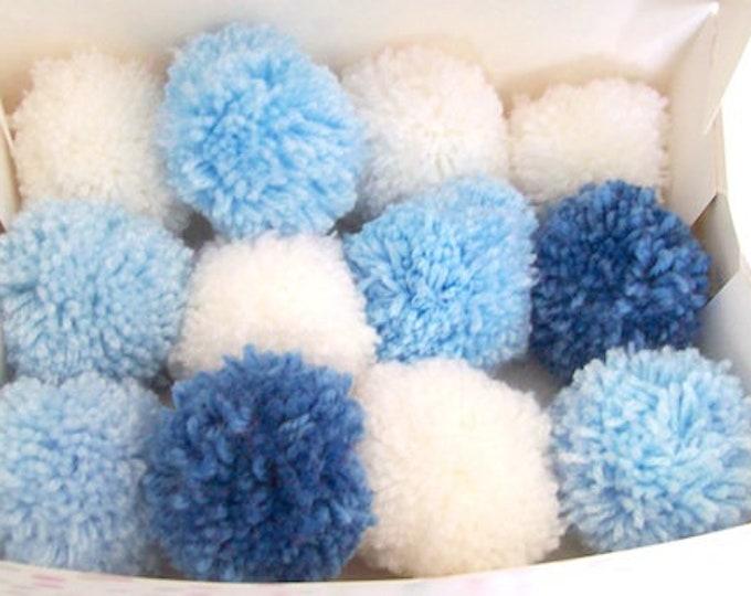 Pom poms blue and whites 6cm various quantities party decorations nursery decor baby shower 50 pom poms