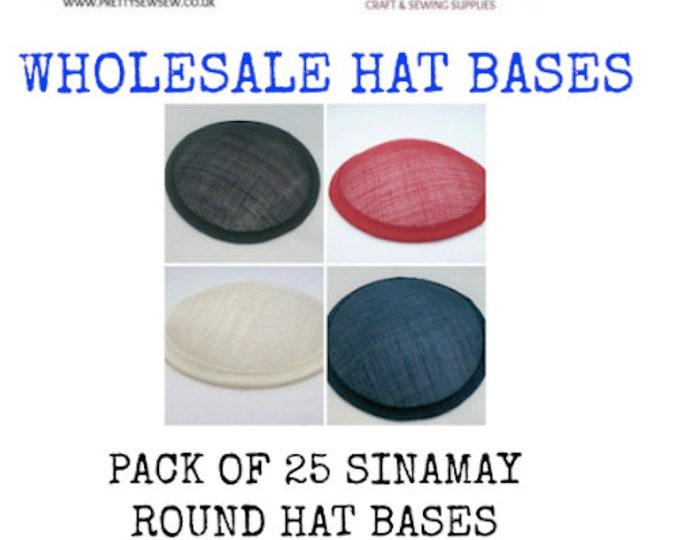 """Sinamay hat base wholesale round 5"""" (13cm) sinamay hat base fascinator base pack of 25"""