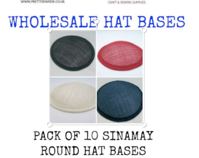"""Sinamay hat base wholesale round 5"""" (13cm) sinamay hat base fascinator base pack of 10"""