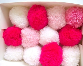 Pom poms pink and whites 6cm various quantities party decorations nursery decor baby shower 50 pom poms