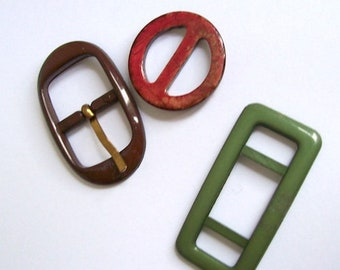 buckles pack 3 1 round wooden 2 plastic oblong shapes ideal for sewing projects