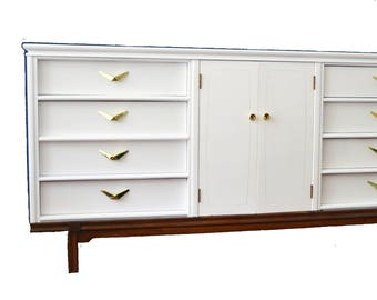 SOLD ***** Mid Century White Dresser  - refinished