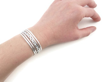 Cuff hammered S braided - silver