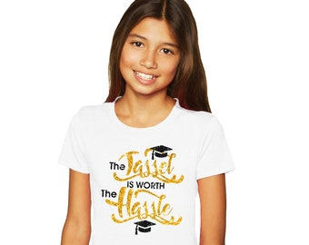 The Tassel is Worth the Hassle - Girl's Glitter Graduation Tee