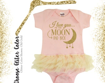 f70e05925c Vintage Frilly Adorable Onesie for Baby Girl, I love you to the moon and  back bodysuit, Frilly Onesie, Custom Personalized baby clothes