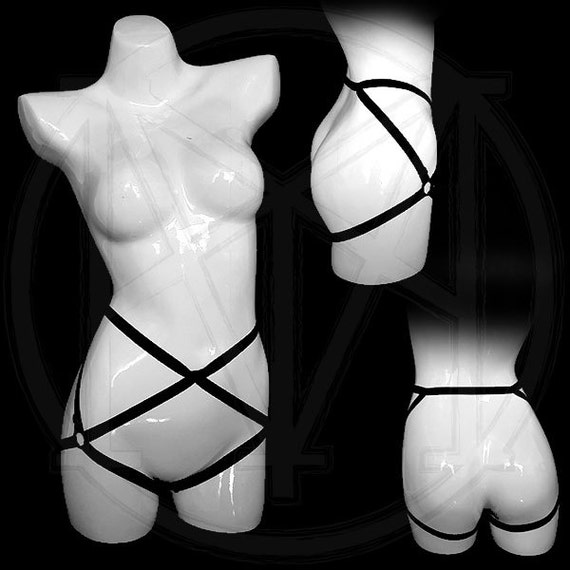 ALEXIS harness adjustable garter in many colors crotchless body harness