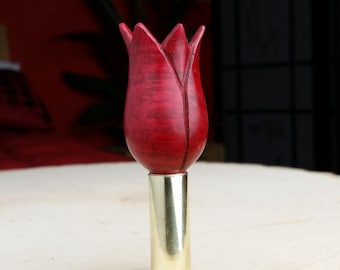 "Hand Turned/Carved ""Mother's Day Tulip"" Pipe Tamper [Briar] with Polished Brass P S 82 Spent Shell Casing [Trimmed]"