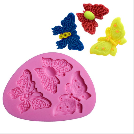 4-Butterfly Cake Mold Soap Mold Silicone Mould For Candy Chocolate Q