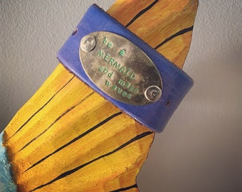 Be A Mermaid - Upcycled Leather Cuff