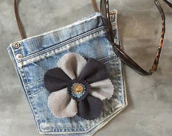 Jeans Pocket bag, Denim flower handbag, Cross body bag, Festival accessories, Upcycled fabric purse,  Summer girls wear, Long strap jeansbag