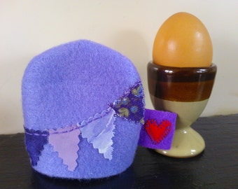 Cute Egg Cosy, Purple gift ideas, Boiled egg cover, New kitchen gifts, Present for foody, Felt bunting cozy, Mini gifts for her, Egg warmer