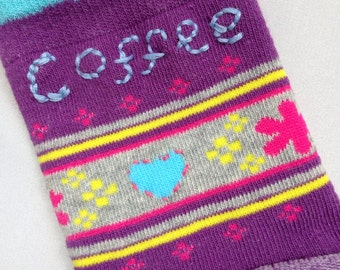 Cup Cosy, Fabric coffee sleeve, Stretch mug cozy, Slip-on cup warmer, Reusable sleeve, Embroidered cozy, Coffee sock, Colleague gift