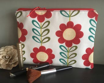 Beauty pouch, Mini tablet case, Zip makeup case, Cosmetics bag, Red floral purse, Fabric iPad cosy, iPad Mini storage, Pretty gifts