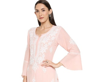 Morocco holiday dress White Boho Beach Cover-Up Bust 40 in Uk 16 US 14 short White cotton Tunic Top bell sleeves India embroidered kurti