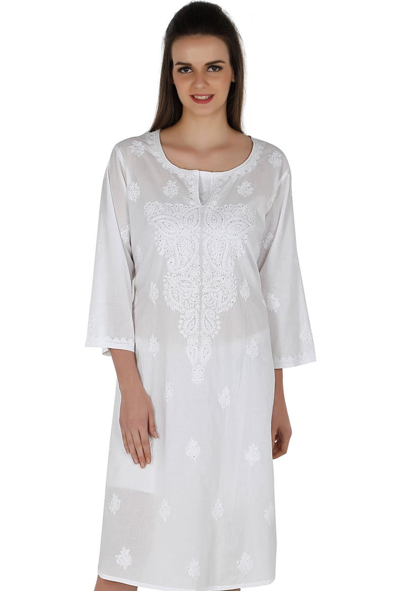 3f5043b6c53 White Ladies Tops Tunic Kurti Blouse Indian Chikankari Hand