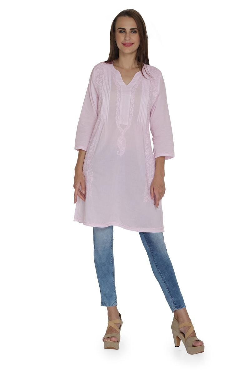 White tunic Indiankala4u Hand Embroidered allover ChikankariChikan Lucknow KurtisTopTunic kurta blouse cotton  for womenladiesgirls