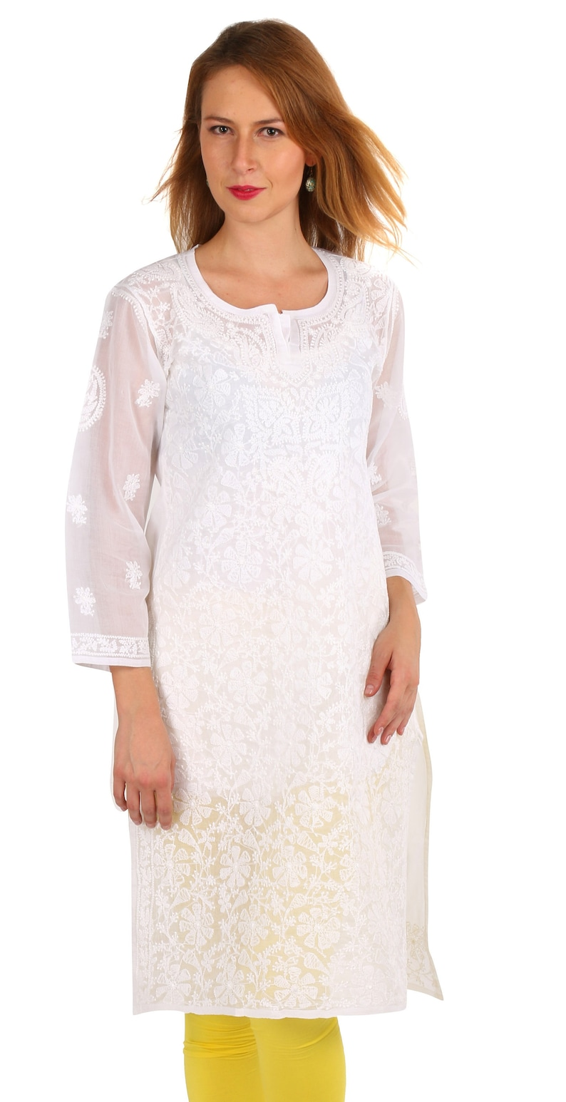 Woman Cotton White chikankari Ladies kurta Tops Tunic Blouse Indian Hand  Embroidery work handmade for girl dresses boho Multiple sizes