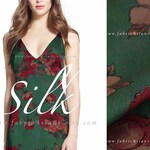 Forest Green Silk Satin peony flowers heavy weight silk by the yard