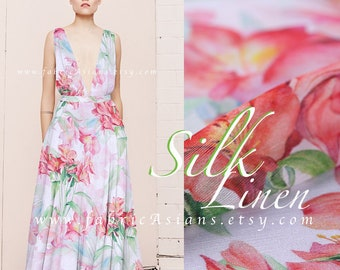 Pink Silk Linen floral Ball Gown Fabric by the yard