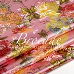 Pink Brocade Golden Peony Fabric by the yard