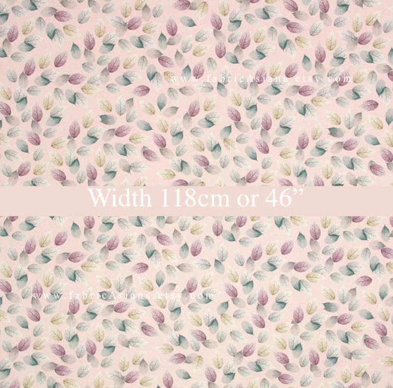 pale pink Satin Silk leaves fabric by the yard