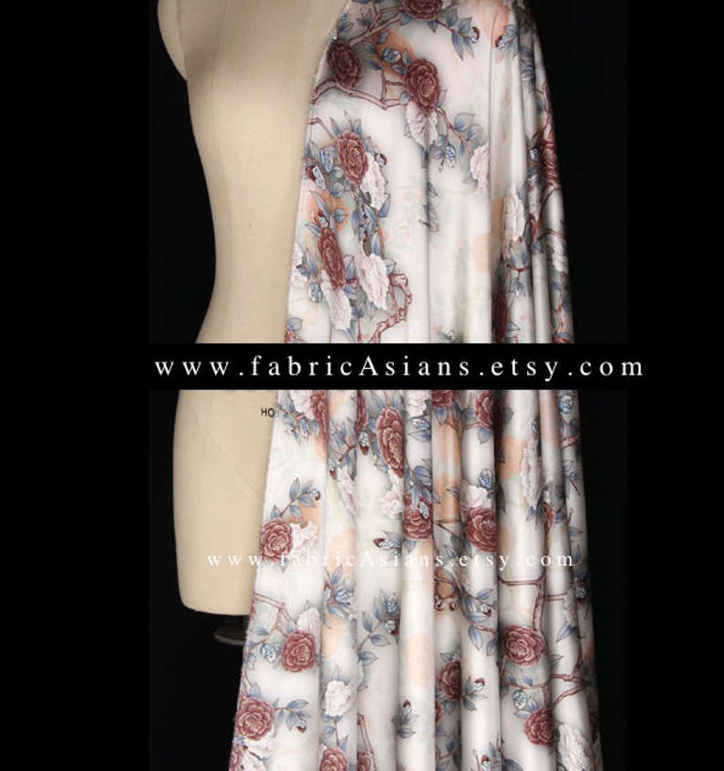 Grey Satin Silk browny red rosette stretch fabric by the yard