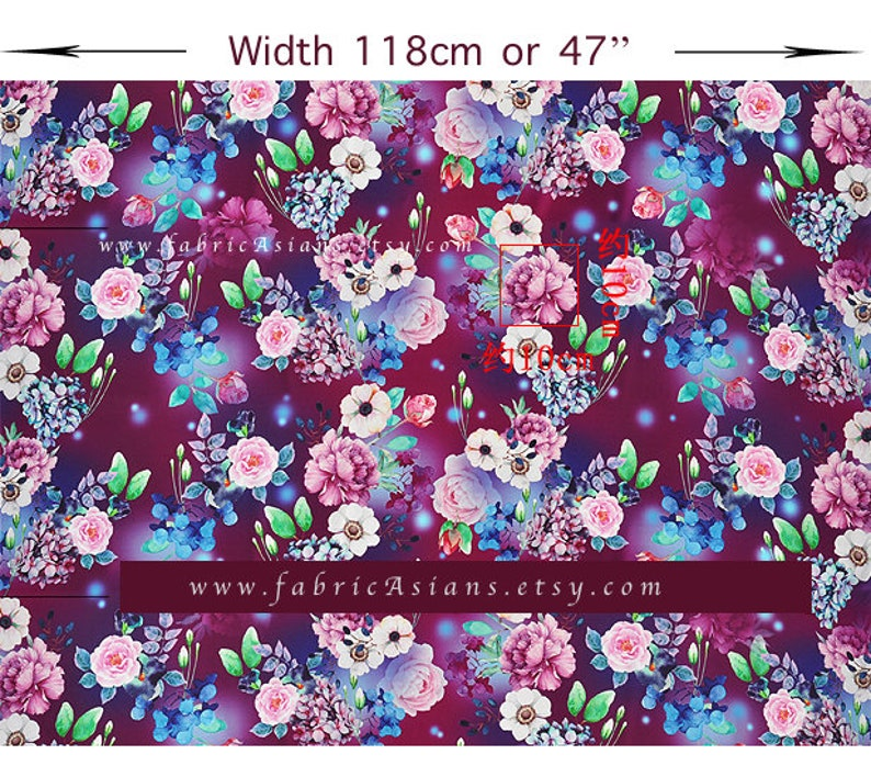 Violet purple silk satin blue pink flowers fabric by the yard