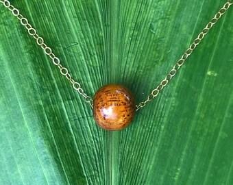 Floating Hawaiian koa wood necklace