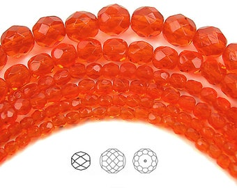 3 strands Czech 3mm fire polished faceted glass beads crystal orange lined AB