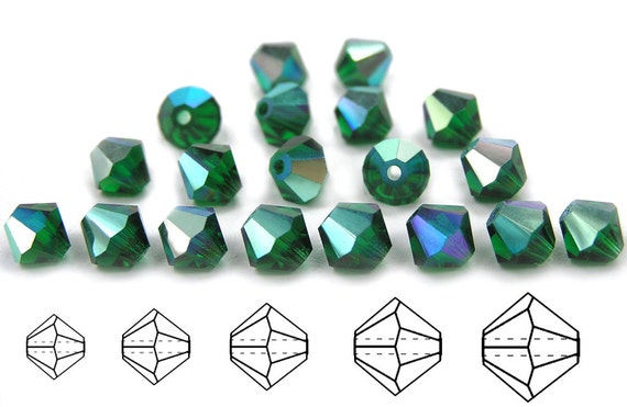 Czech MC Glass Bicone Beads Rondell//Diamond Light Siam Vitrail red green cryst