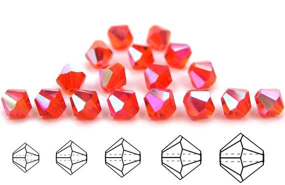 Rondell//Diamond Fuchsia full AB 4mm AB2X Czech MC Glass Bicone Beads 3mm