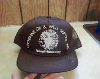 e082421a316 Vintage • Cheyenne Oil   Well Service Russell Ness City Kansas KS Mesh Foam Hat  Cap