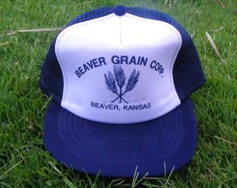 Vintage • Beaver Grain Corp Mesh Hat Cap  ee3a7f8b8add