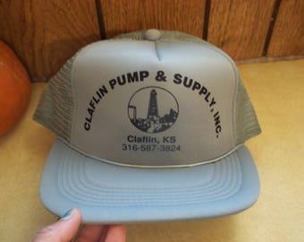 c2669366560 Vintage • DARK GRAY Claflin Pump   Supply Inc Kansas KS Mesh Foam Hat Cap