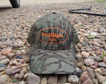 timeless design 6ec68 00e27 Vintage • Phillips Seed Camouflage Camo Orange Baseball Cap Hat   Trucker  Truck Trucking Advertisement One Size Fits All   China