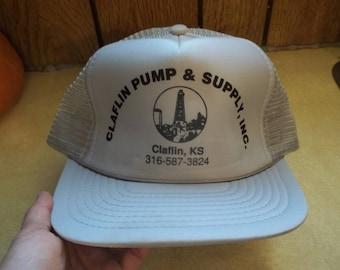 8f7dc8b4af6 Vintage • LIGHT GRAY Claflin Pump   Supply Inc Kansas KS Mesh Foam Hat Cap