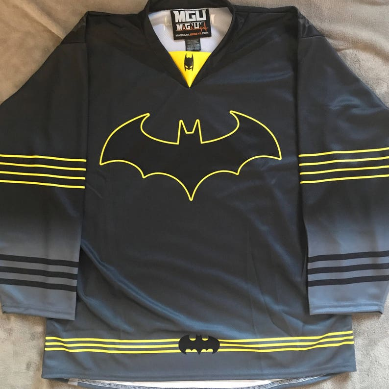 2530f660a CUSTOM Batman The Dark Knight Hockey Jersey Black Bruce