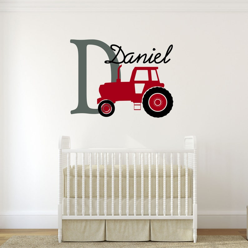 Quality Matte Vinyl Decal Sticker Farming Tractor with Personalized Name and Initial Kids Nursery Bedroom