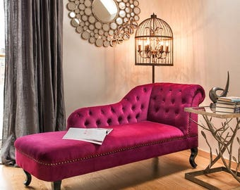 Chaise Lounge Sofa •  Hand Made With Plum Velvet Fabric