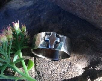 Silver Cross Ring - Handmade