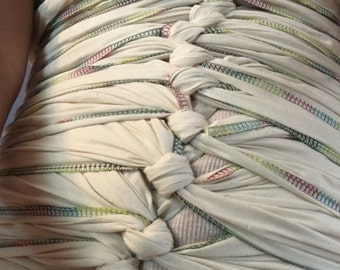 Natural Bengkung Belly Bind 15 yards long with RAINBOW COTTON THREAD! (wear with your own underpiece or tank top)