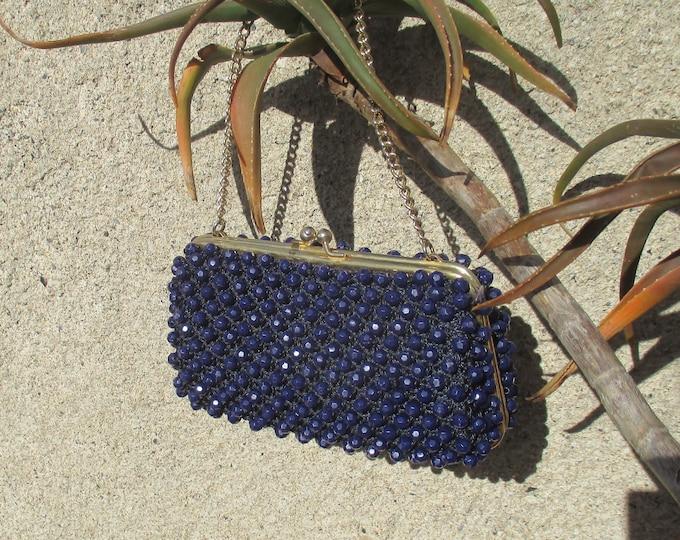 deep purple plastic beads on gold tone with chain mod mid century modern 60s 70s beaded purse